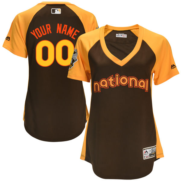 Women's National League Majestic Brown 2016 MLB All-Star Game Cool Base Custom Jersey