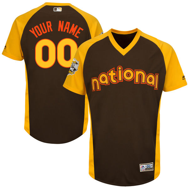 Men's National League Majestic Brown 2016 MLB All-Star Game Cool Base Custom Jersey