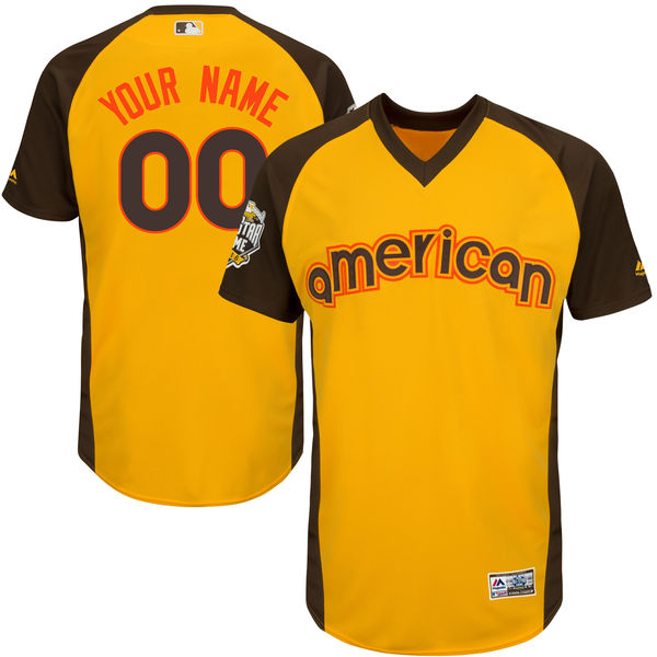 Youth American League Majestic Gold 2016 MLB All-Star Game Cool Base Custom Jersey