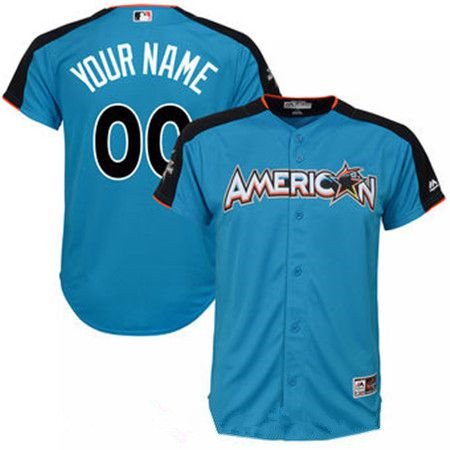Youth American League Majestic Blue Blank 2017 MLB All-Star Game Home Run Derby Team Jersey