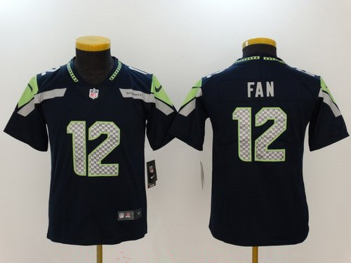 Youth Seattle Seahawks #12 12th Fan Navy Blue 2017 Vapor Untouchable Stitched NFL Nike Limited Jersey