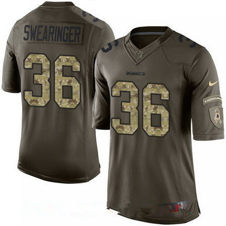 Youth Washington Redskins #36 D.J. Swearinger Green Salute To Service Stitched NFL Nike Limited Jersey