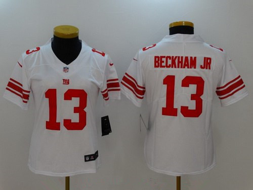Women's New York Giants #13 Odell Beckham Jr White 2017 Vapor Untouchable Stitched NFL Nike Limited Jersey