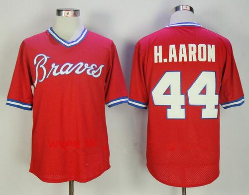 Men's Atlanta Braves #44 Hank Aaron Red 1980 Throwback Mesh Batting Practice Stitched MLB Mitchell & Ness Jersey