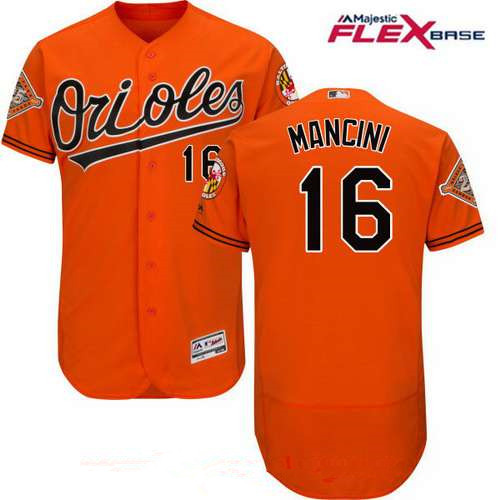 Men's Baltimore Orioles #16 Trey Mancini Orange Alternate 25th Patch Stitched MLB Majestic Flex Base Jersey
