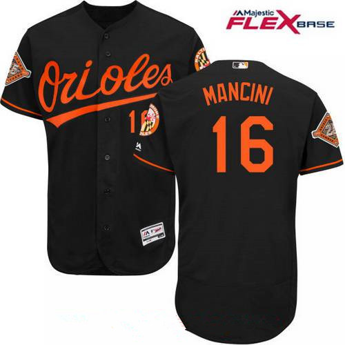 Men's Baltimore Orioles #16 Trey Mancini Black Alternate 25th Patch Stitched MLB Majestic Flex Base Jersey