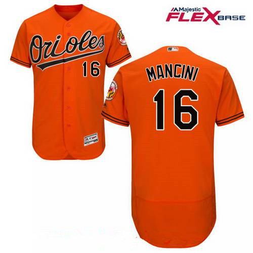 Men's Baltimore Orioles #16 Trey Mancini Orange Alternate Stitched MLB Majestic Flex Base Jersey