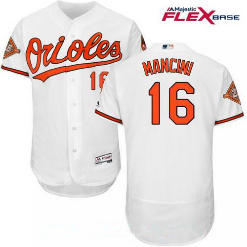 Men's Baltimore Orioles #16 Trey Mancini White Home 25th Patch Stitched MLB Majestic Flex Base Jersey