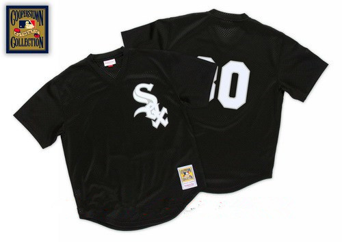 Men's Chicago White Sox #30 Tim Raines Black 1991 Throwback Mesh Batting Practice Stitched MLB Mitchell & Ness Jersey