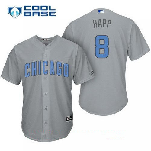 Men's Chicago Cubs #8 Ian Happ Gray with Baby Blue Father's Day Stitched MLB Majestic Cool Base Jersey