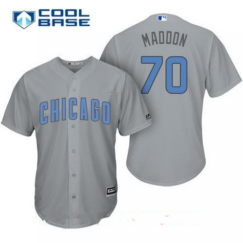 Men's Chicago Cubs #70 Joe Maddon Gray with Baby Blue Father's Day Stitched MLB Majestic Cool Base Jersey
