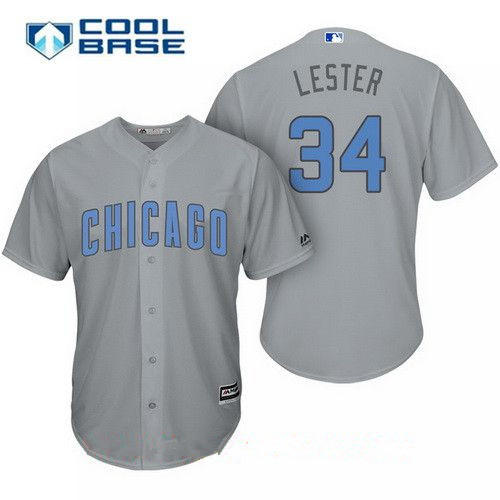 Men's Chicago Cubs #34 Jon Lester Gray with Baby Blue Father's Day Stitched MLB Majestic Cool Base Jersey