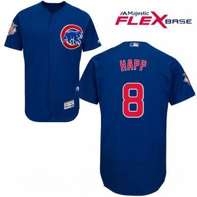 Men's Chicago Cubs #8 Ian Happ Royal Blue Stitched MLB Majestic Flex Base Jersey