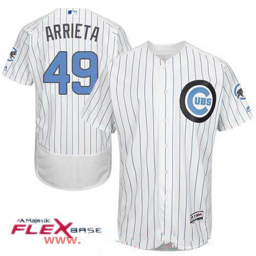 e89697ebc08 Men s Chicago Cubs  49 Jake Arrieta White with Baby Blue Father s Day  Stitched MLB Majestic