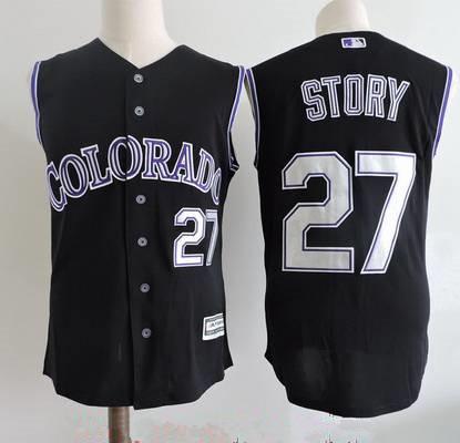 Men's Colorado Rockies #27 Trevor Story Black Vest Sleeveless Stitched MLB Majestic Cool Base Jersey