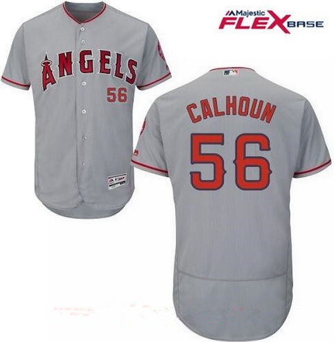Men's Los Angeles Angels Of Anaheim #56 Kole Calhoun Gray Road Stitched MLB Majestic Flex Base Jersey