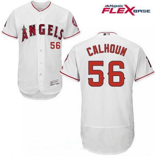 Men's Los Angeles Angels Of Anaheim #56 Kole Calhoun White Home Stitched MLB Majestic Flex Base Jersey