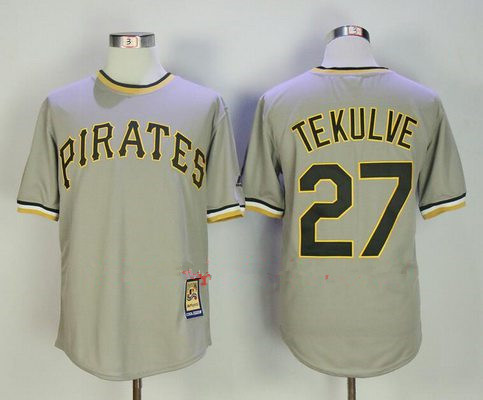 Men's Pittsburgh Pirates #27 Kent Tekulve Gray Pullover Stitched MLB Majestic Cooperstown Collection Jersey