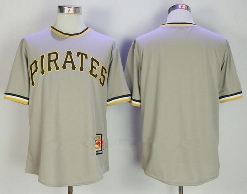 Men's Pittsburgh Pirates Blank Gray Pullover Stitched MLB Majestic Cooperstown Collection Jersey