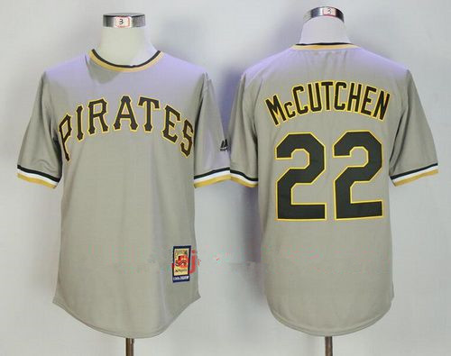 Men's Pittsburgh Pirates #22 Andrew McCutchen Gray Pullover Stitched MLB Majestic Cooperstown Collection Jersey