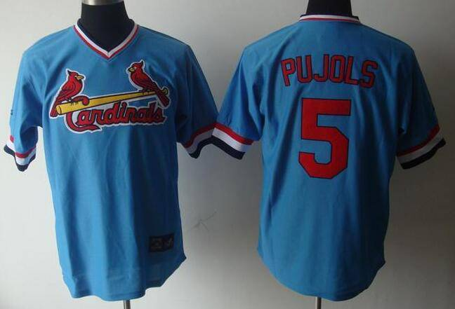 Men's St. Louis Cardinals #5 Albert Pujols Light Blue Pullover Stitched MLB Majestic Cooperstown Collection Jersey