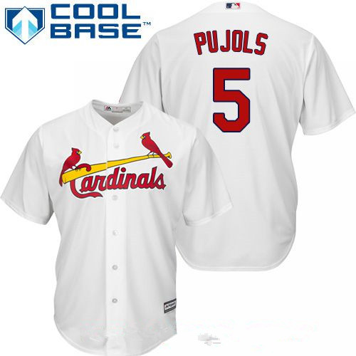 Men's St. Louis Cardinals #5 Albert Pujols White Home Stitched MLB Majestic Cool Base Jersey