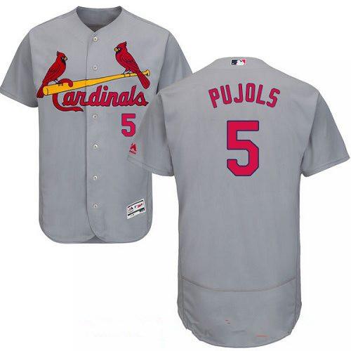 Men's St. Louis Cardinals #5 Albert Pujols Gray Road Stitched MLB Majestic Flex Base Jersey