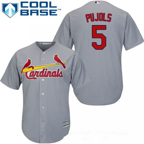 Men's St. Louis Cardinals #5 Albert Pujols Gray Road Stitched MLB Majestic Cool Base Jersey