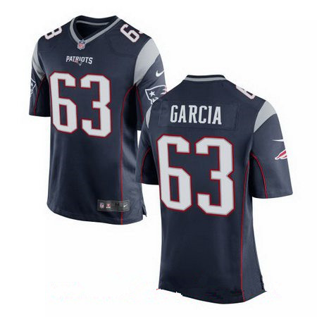 Men's 2017 NFL Draft New England Patriots #63 Antonio Garcia Navy Blue Team Color Stitched NFL Nike Elite Jersey