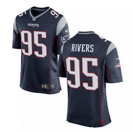 Men's 2017 NFL Draft New England Patriots #95 Derek Rivers Navy Blue Team Color Stitched NFL Nike Elite Jersey
