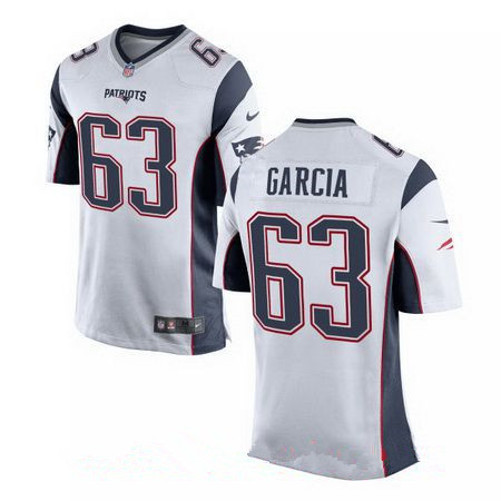 Men's 2017 NFL Draft New England Patriots #63 Antonio Garcia White Road Stitched NFL Nike Elite Jersey