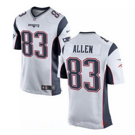 mens new england patriots 83 dwayne allen white road stitched nfl nike elite jersey
