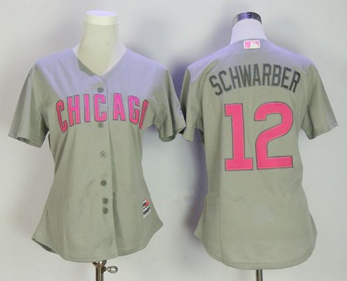 eebafa402 Women s Chicago Cubs  12 Kyle Schwarber Gray with Pink Mother s Day  Stitched MLB Majestic Cool