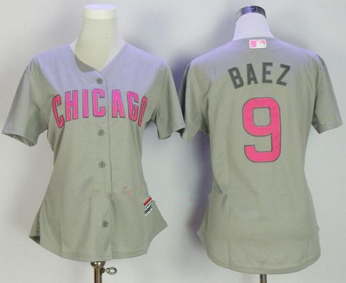 2d508bfc ... Jersey Womens Chicago Cubs 9 Javier Baez Gray with Pink Mothers Day  Stitched MLB Majestic Cool Base ...