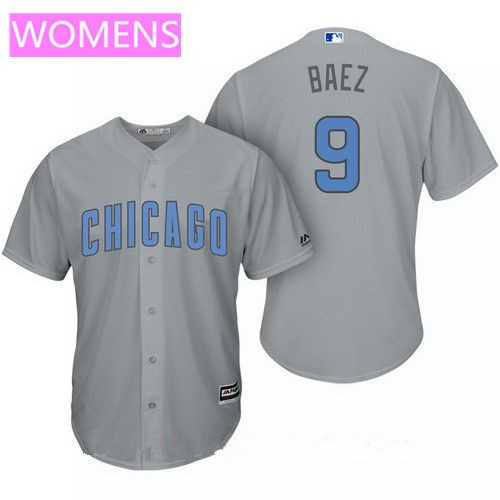 Women's Chicago Cubs #9 Javier Baez Gray with Baby Blue Father's Day Stitched MLB Majestic Cool Base Jersey