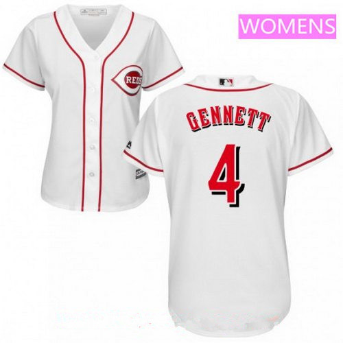 Women's Cincinnati Reds #4 Scooter Gennett White Home Stitched MLB Majestic Cool Base Jersey