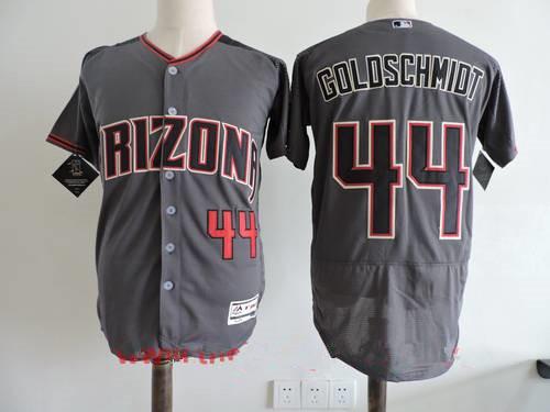 Men's Arizona Diamondbacks #44 Paul Goldschmidt Gray 2017 Road Brick Stitched MLB Majestic Flex Base Jersey