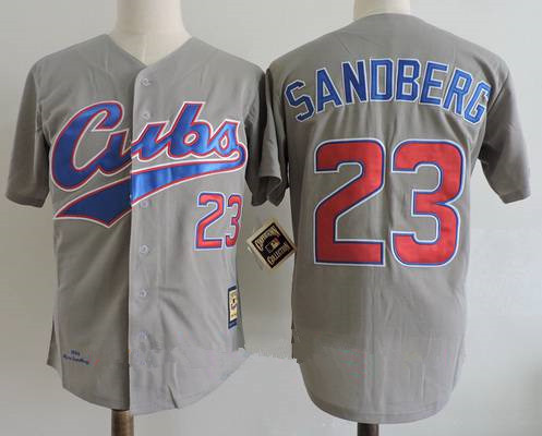 Men's Chicago Cubs #23 Ryne Sandberg Gray Road 1994 Throwback Cooperstown Collection Stitched MLB Mitchell & Ness Jersey