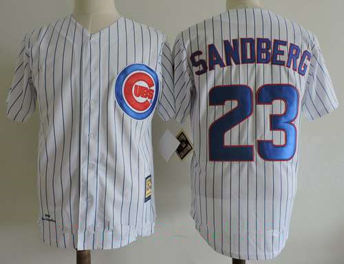 Men's Chicago Cubs #23 Ryne Sandberg White 1990 Throwback Cooperstown Collection Stitched MLB Mitchell & Ness Jersey