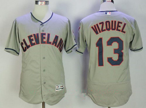 Men's Cleveland Indians #13 Omar Vizquel Retired Gray Road Stitched MLB Majestic Flex Base Jersey