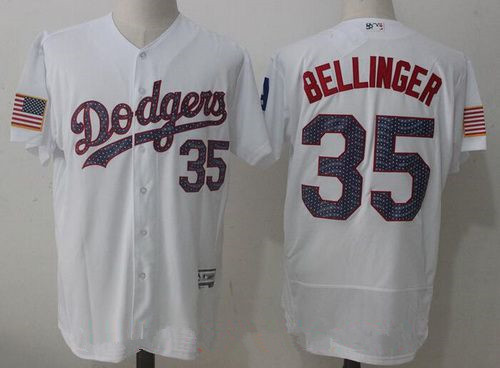 Men's Los Angeles Dodgers #35 Cody Bellinger White 2017 Independence Stars & Stripes Stitched MLB Majestic Flex Base Jersey