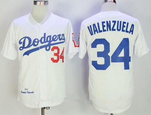 Men's Los Angeles Dodgers #34 Fernando Valenzuela White 1981 Throwback Cooperstown Collection Stitched MLB Mitchell & Ness Jersey