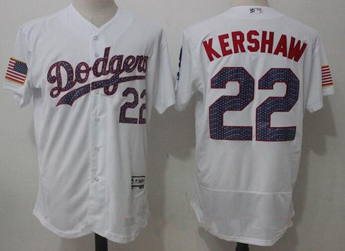 Men's Los Angeles Dodgers #22 Clayton Kershaw White 2017 Stars & Stripes Stitched MLB Majestic Flex Base Jersey