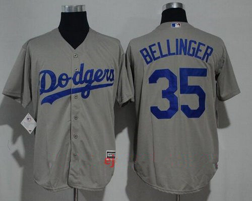Men's Los Angeles Dodgers #35 Cody Bellinger Gray Road Stitched MLB Majestic Cool Base Jersey