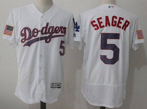Men's Los Angeles Dodgers #5 Corey Seager White 2017 Independence Stars & Stripes Stitched MLB Majestic Flex Base Jersey