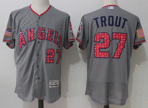 Men's Los Angeles Angels Of Anaheim #27 Mike Trout Gray 2017 Stars & Stripes Stitched MLB Majestic Flex Base Jersey
