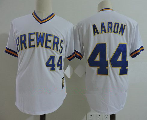 Men's Milwaukee Brewers #44 Hank Aaron White Pullover Throwback Cooperstown Collection Stitched MLB Mitchell & Ness Jersey