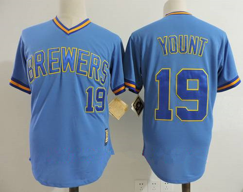 Men's Milwaukee Brewers #19 Robin Yount Light Blue Pullover Throwback Cooperstown Collection Stitched MLB Mitchell & Ness Jersey