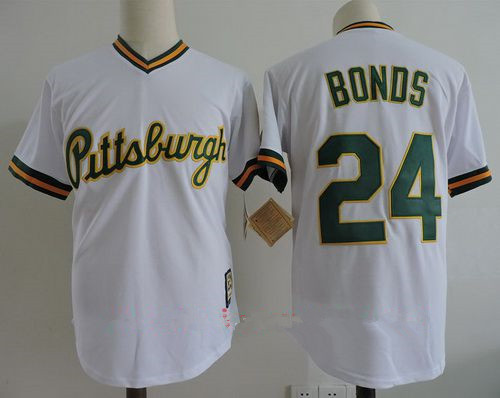 Men's Pittsburgh Pirates #24 Barry Bonds White with GREEN name number Stitched MLB Majestic Cooperstown Collection Jersey