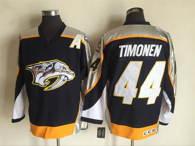 Men's Nashville Predators #44Kimmo Timonen Navy Blue 1998-99 Throwback Stitched NHL CCM Vintage Hockey Jersey